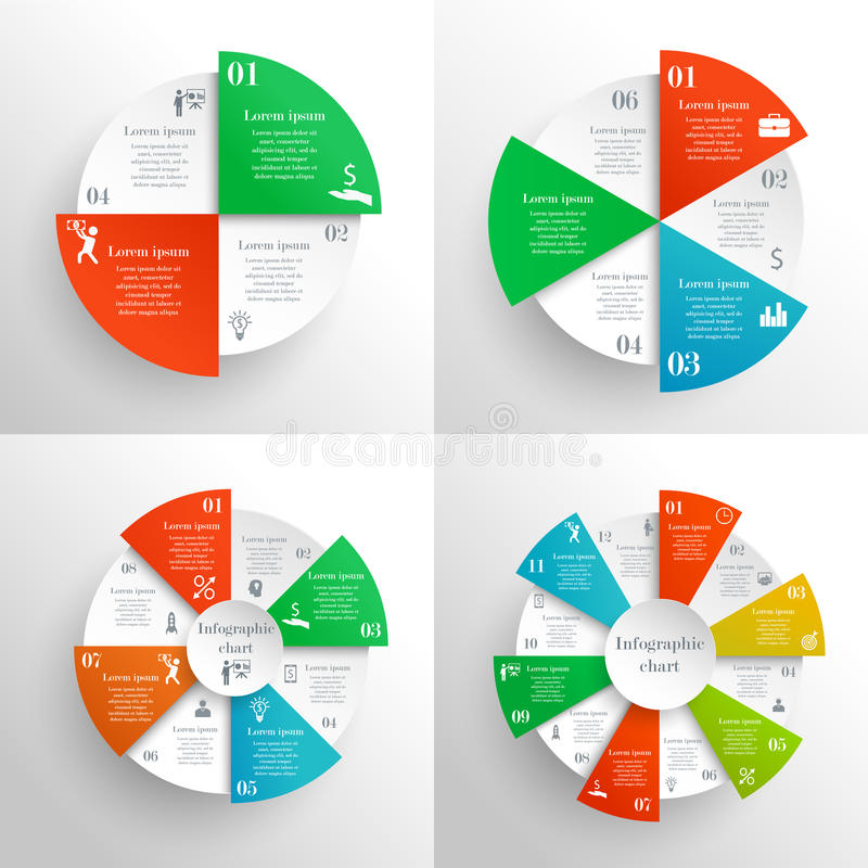 Circle infographics set royalty free illustration