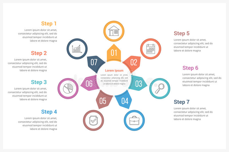 Circle Infographics Template with Seven Elements royalty free illustration