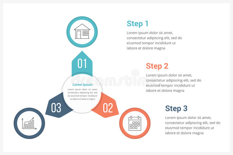 Circle Infographics Template with Three Elements. Can be used as process diagram, steps, options vector illustration
