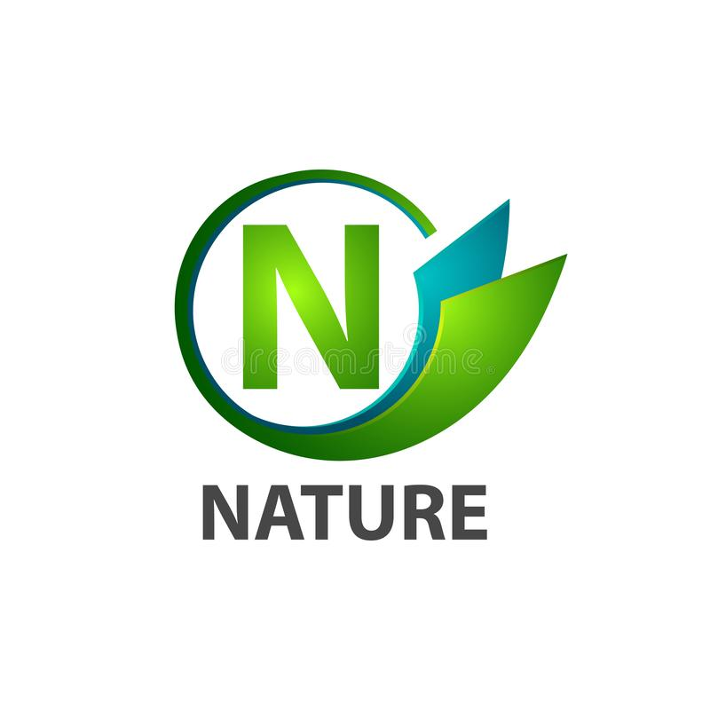 Circle initial letter N nature logo concept design. Symbol graphic template element. Vector royalty free illustration