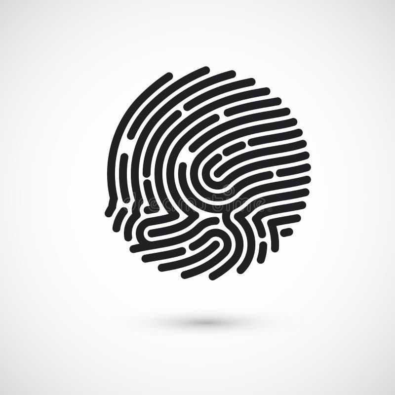 Circle Ink Fingerprint icon design for application. Finger print flat scan. Vector illustration isolated on white background stock illustration