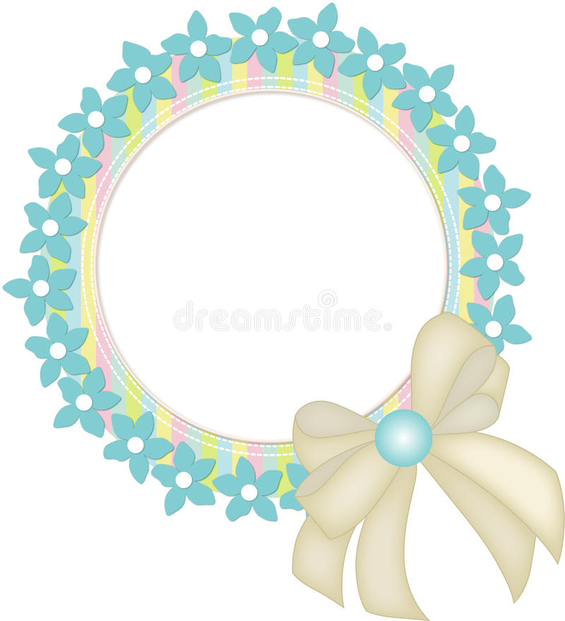 Circle inramar med blommor och bandet stock illustrationer