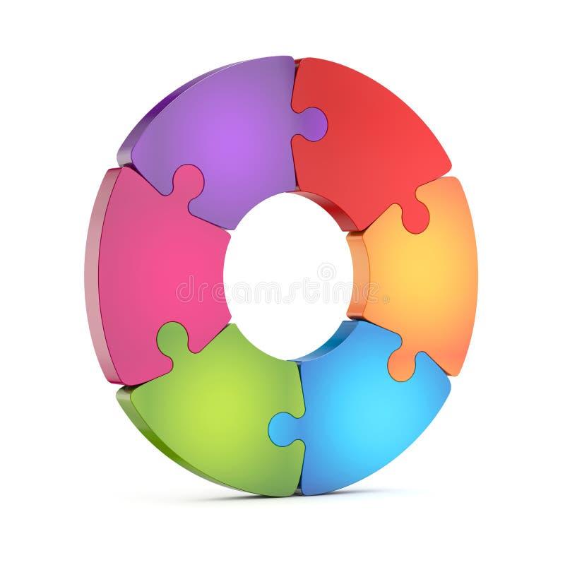 Circle jigsaw puzzle wheel royalty free illustration