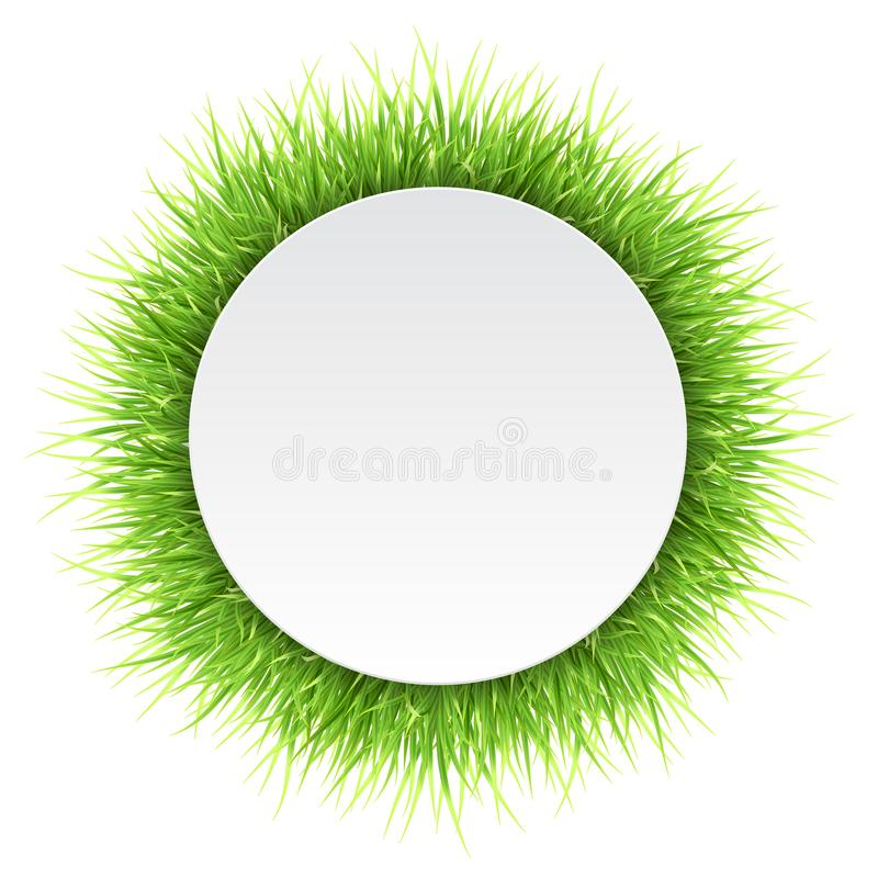 Circle label with green grass stock illustration