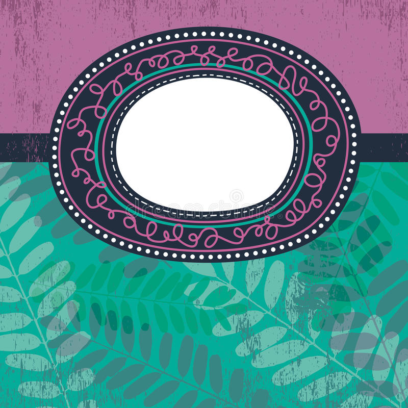 Circle label over floral background, vector vector illustration