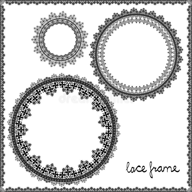 Circle lace frame colorless royalty free illustration