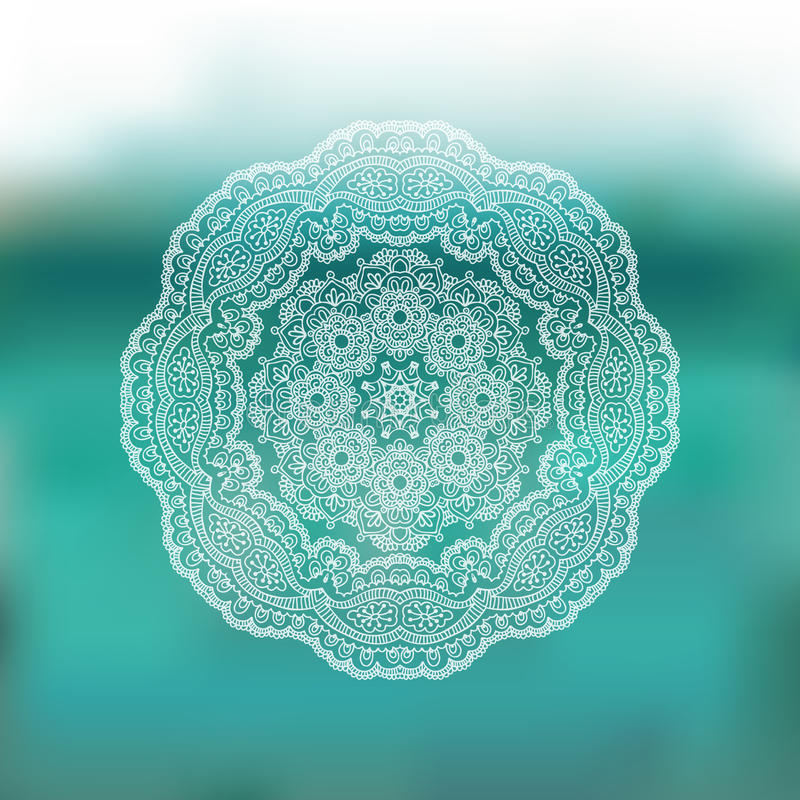Circle lace ornament, mandala, blur background. Round lace pattern in vector. Mandala, circle ethnic ornament. Abstract blurred background for web and mobile royalty free illustration