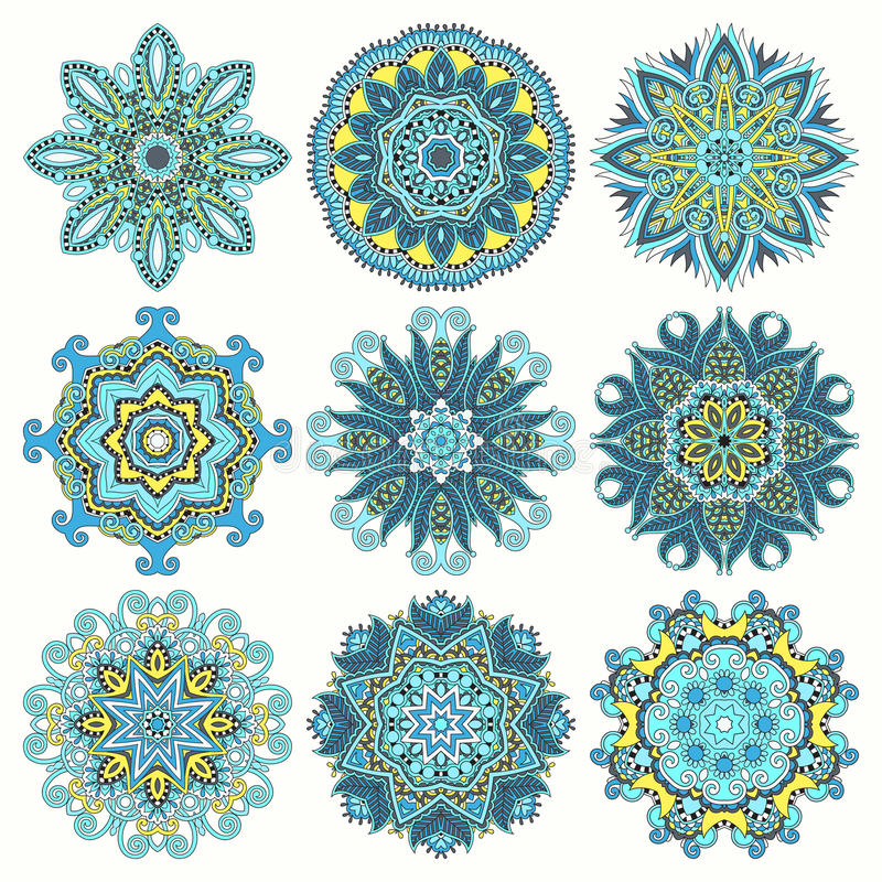 Circle lace ornament, round ornamental geometric. Doily pattern collection. Vector illustration vector illustration