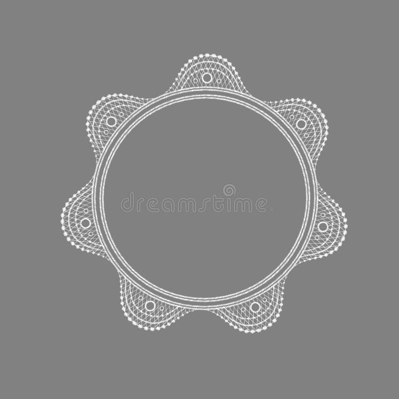 Circle lace ornament, round ornamental geometric doily pattern royalty free illustration