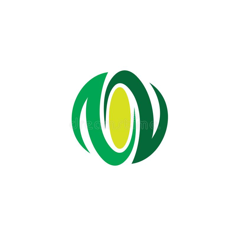 Circle leaf eco logo vector royalty free stock photo