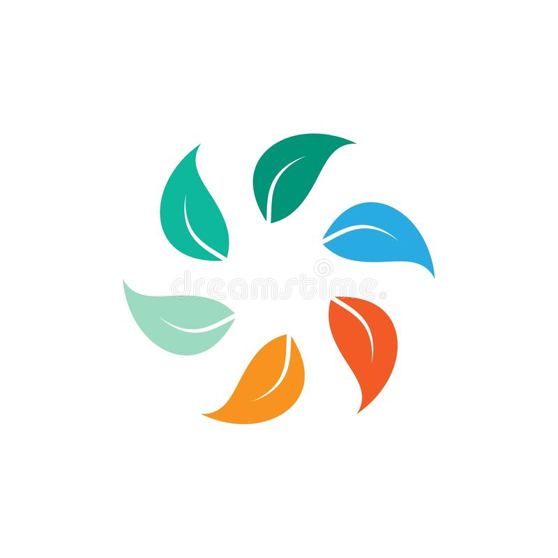 Circle leaf. Ecology vector leaves icon. easy to change colors royalty free illustration