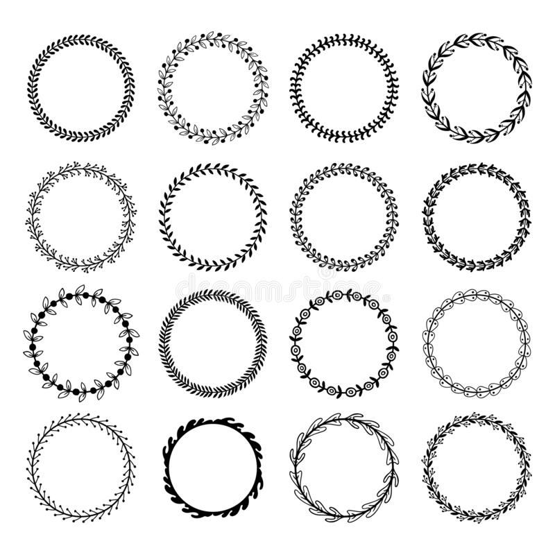 Circle leaf frames. Floral leaves round frame, flower ornament circles and flowers circled border isolated vector set. Circle leaf frames. Floral leaves round royalty free illustration