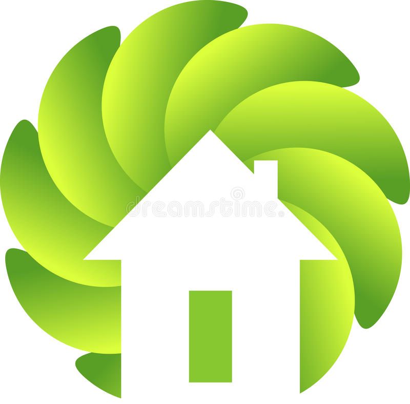 Circle leaf home logo stock illustration