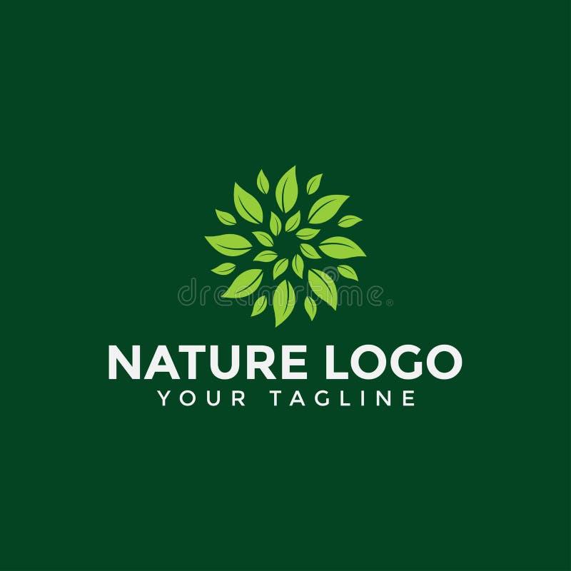 Circle Leaf Logo Design Template stock photo