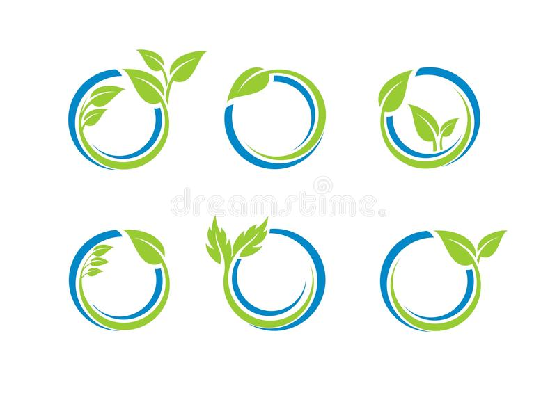 Circle leaves ecology logo, plant water sphere Set of round icon symbol vector design. Circle leaves ecology logo plant water sphere Set of round icon symbol royalty free illustration
