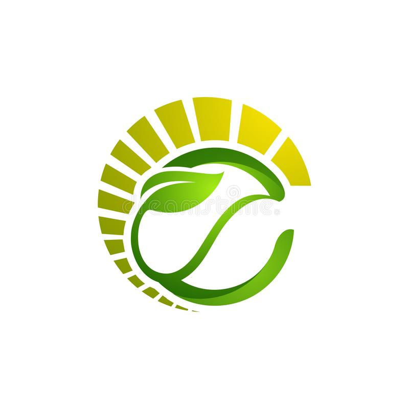 Circle leaves ecology logo, Tree leaf vector logo design, eco-fr stock illustration