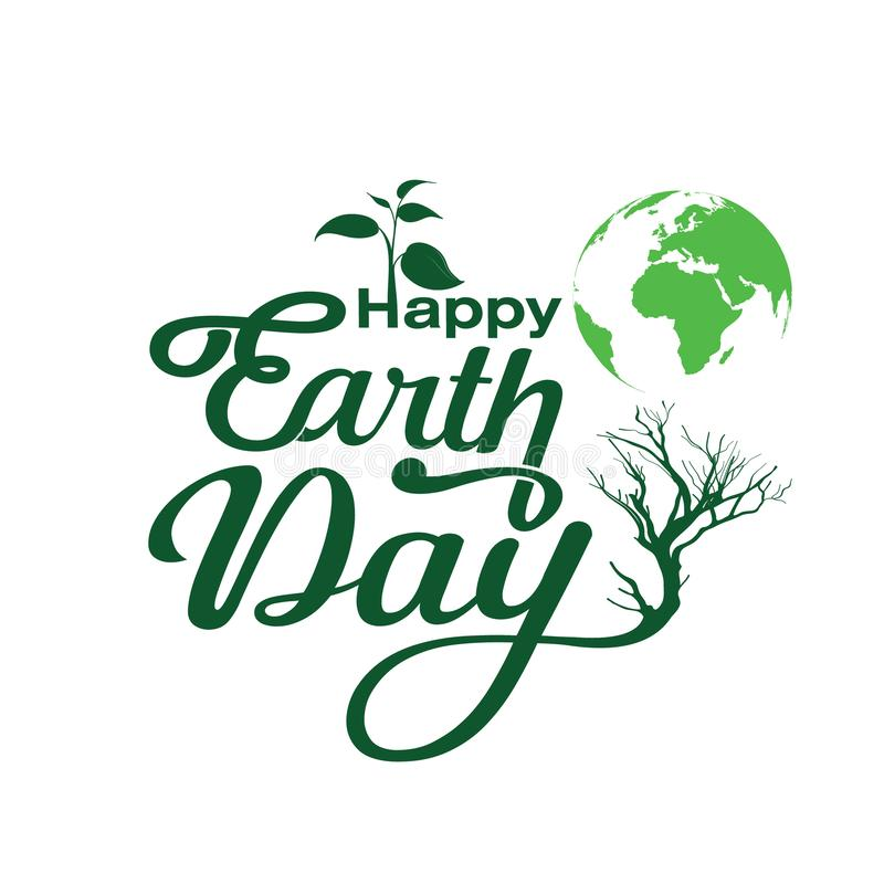 Typography happy earth day. Circle of life happy earth days with leaf and green colours royalty free illustration