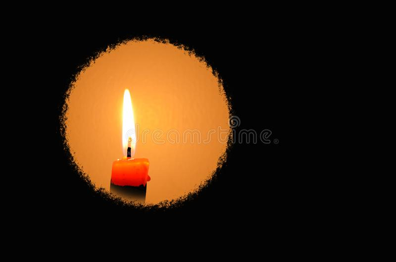 Circle of candle light in the dark foreground stock photos