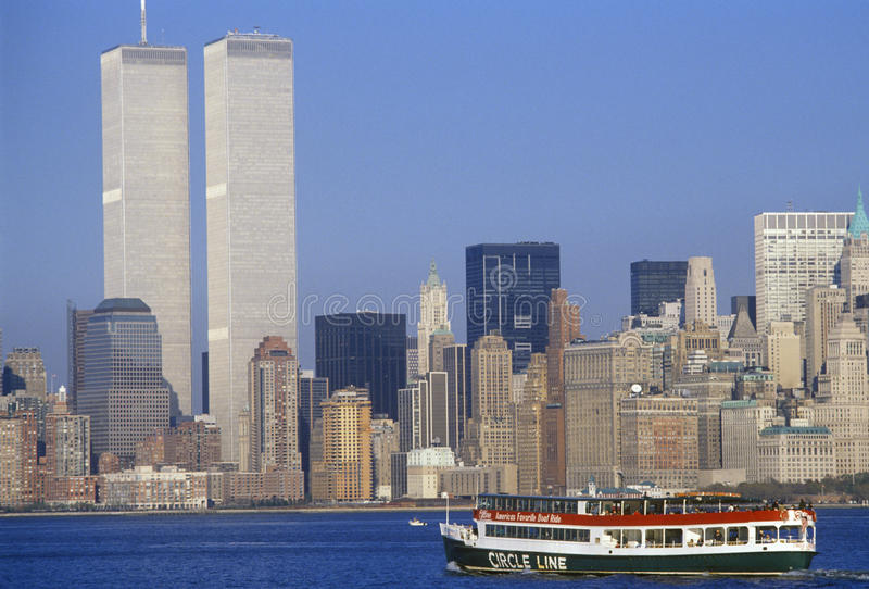 Circle Line boat to see Statue of Liberty with World Trade Center, New York City, NY royalty free stock photos