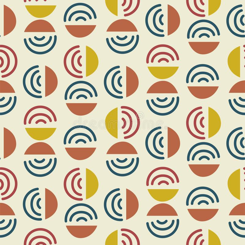 Circle and line shapes abstract modern seamless pattern. Blue yellow repeat background for wrap, textile and print royalty free illustration