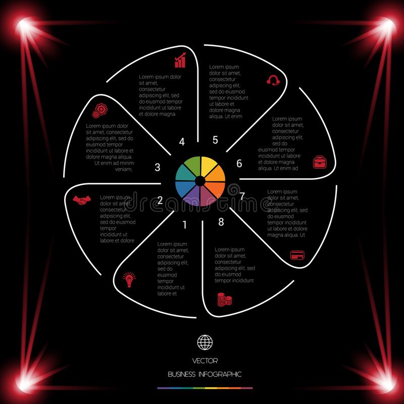 Circle Lines Infographic 8 Positions dark background with red li. Business chart for presentations. Circle Lines Infographic 8 Positions dark background with red vector illustration