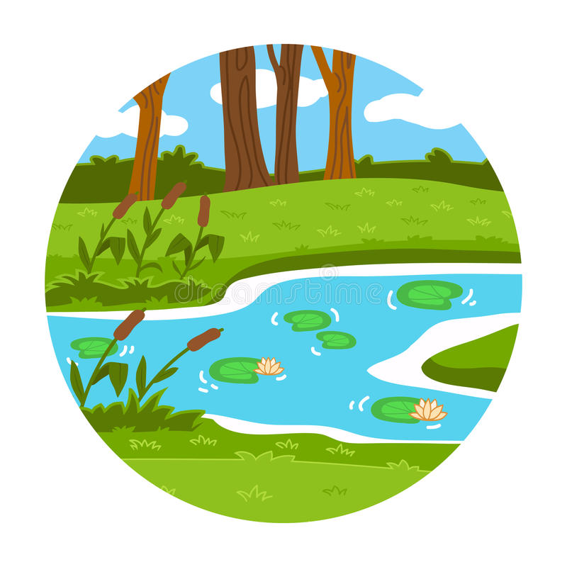 Free Circle Locations, Little Landscape (summer Pond In The Woods) Stock Image - 48485051
