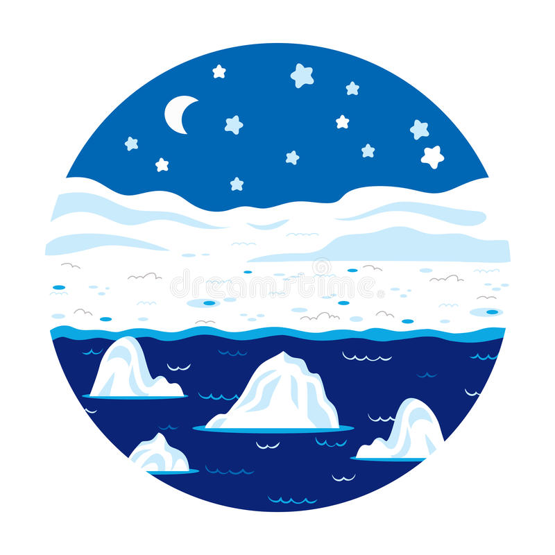 Circle locations, little landscape (winter polar night) stock illustration