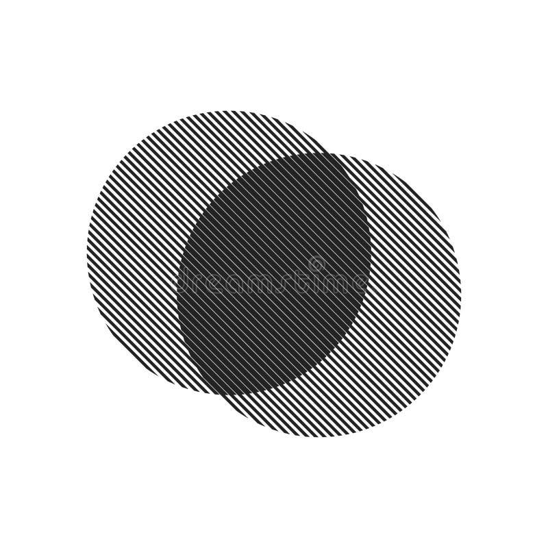 Circle Logo mit Linien Quadratisches ungewöhnliches Symbol Design Rahmen mit Vector Streifen Geometrische Form Bestandsaufnahme E vektor abbildung