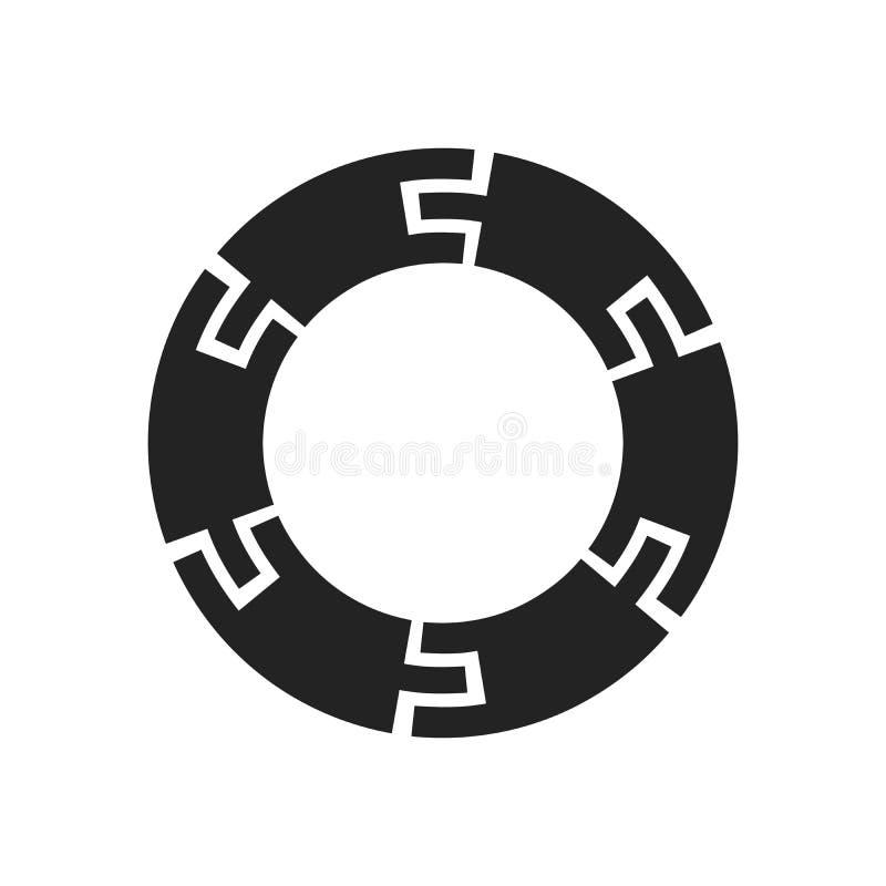 Circle Logo mit Linien Quadratisches ungewöhnliches Symbol Design Rahmen mit Vector Streifen Geometrische Form Bestandsaufnahme E lizenzfreie abbildung