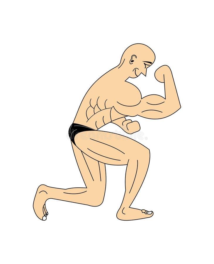 Bodybuilder posing. A cartoony illustration of a bodybuilder posing and showing his muscles royalty free illustration