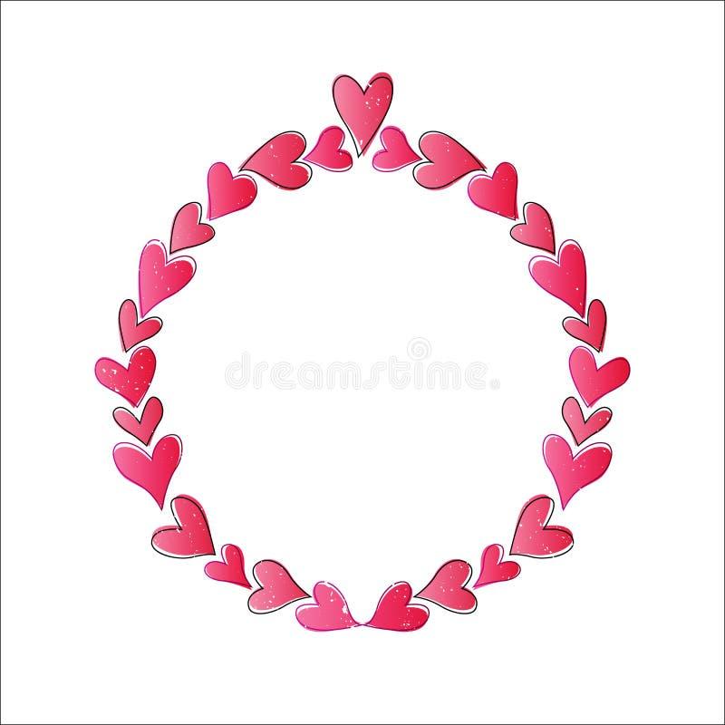Circle Love Frame. Vector illustration of heart shape circle frame for valentine background vector illustration