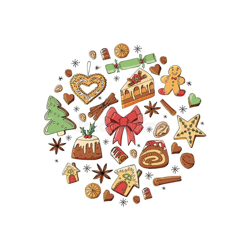 Circle made of different christmas winter desserts, sweets and food. Design template for restaurant and cafe menu vector illustration