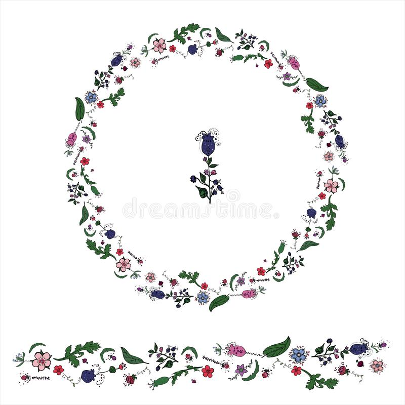 Circle made from floral dudling elements whith wreath stock illustration
