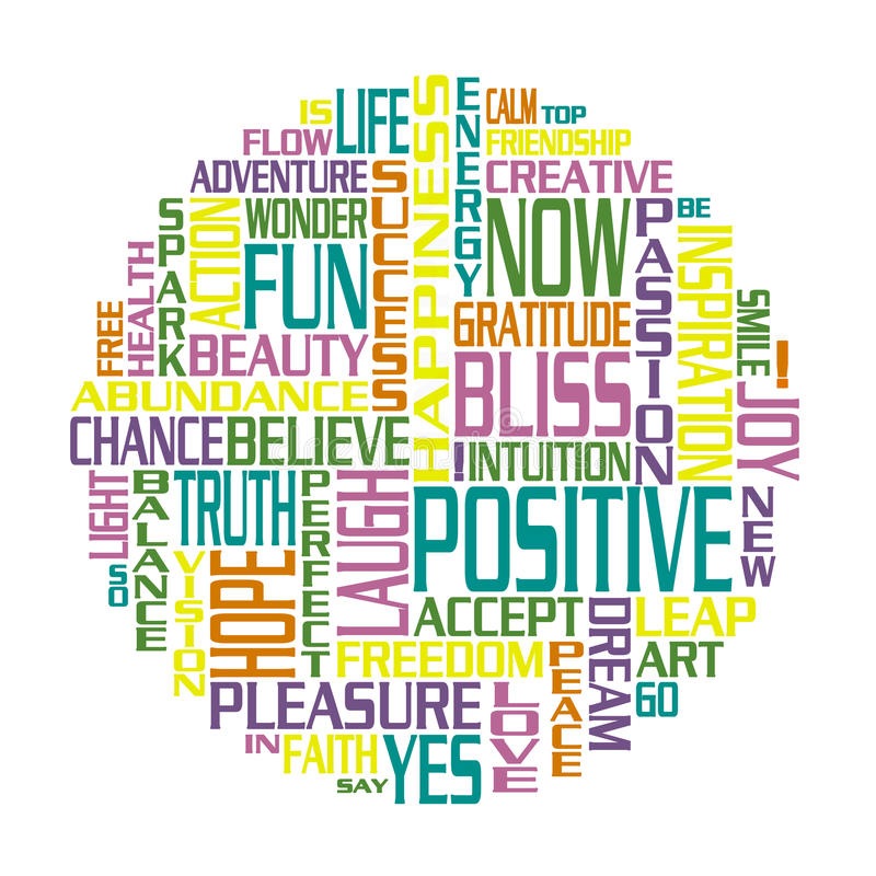 Positive Words Happiness Circle vector illustration