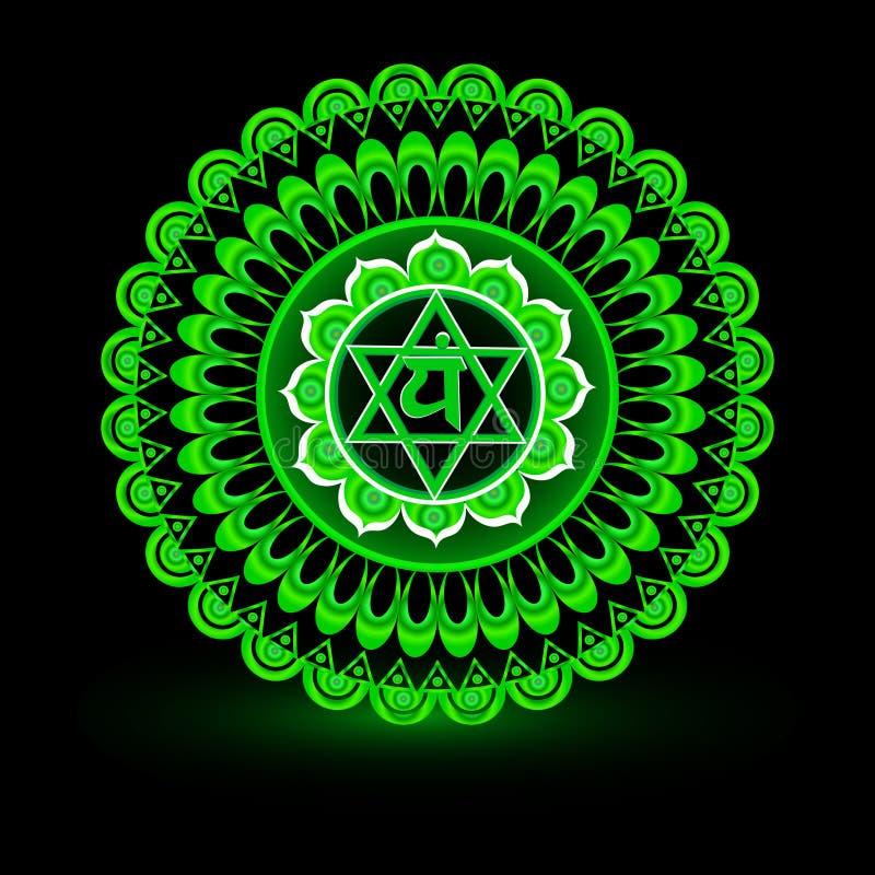 Circle mandala pattern. Anahata chakra. Circle mandala pattern. Anahata chakra vector illustration royalty free illustration