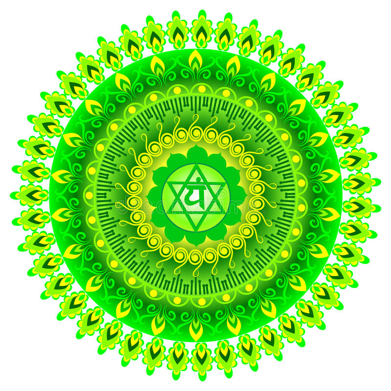 Circle mandala pattern. Anahata chakra. Circle mandala pattern. Anahata chakra vector illustration stock illustration