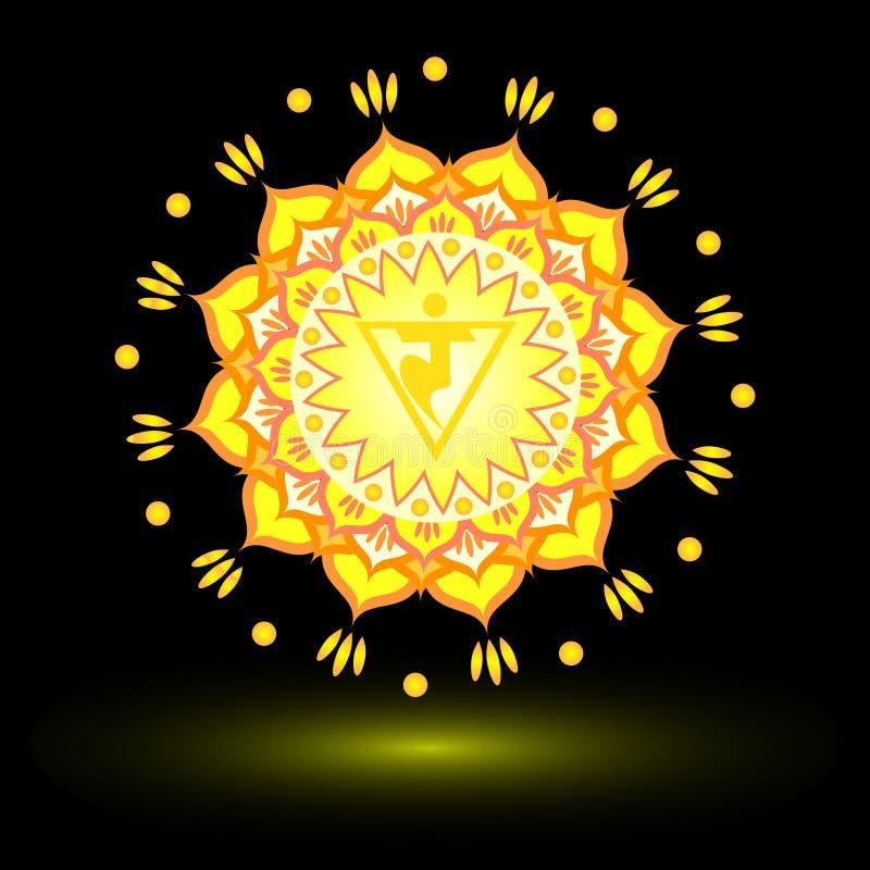 Circle mandala pattern. Manipura chakra. Circle mandala pattern. Manipura chakra vector illustration stock illustration