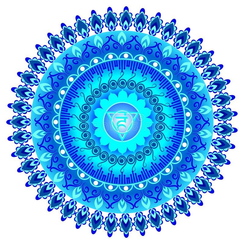 Circle mandala pattern. Vishuddha chakra. Circle mandala pattern. Vishuddha chakra vector illustration vector illustration