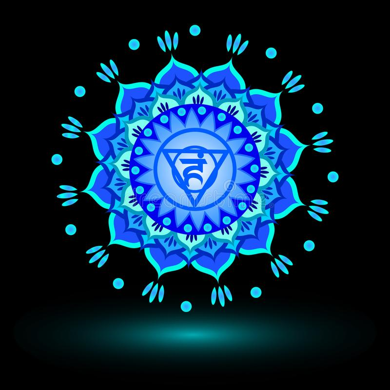 Circle mandala pattern. Vishuddha chakra. Circle mandala pattern. Vishuddha chakra vector illustration royalty free illustration