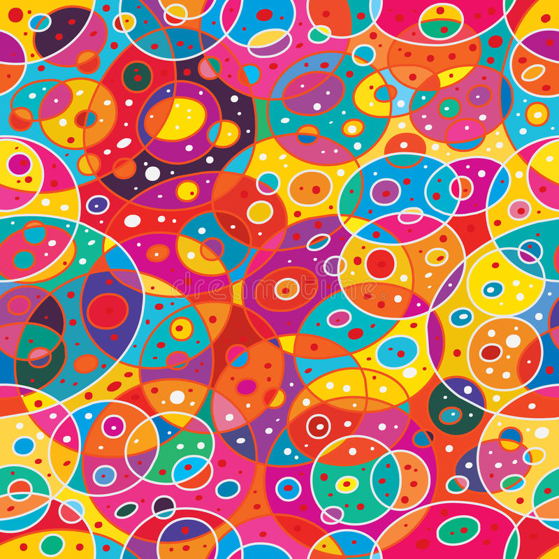 Circle many near abstract seamless pattern. This illustration is drawing many circles and abstract nearest in colorful background seamless pattern royalty free illustration
