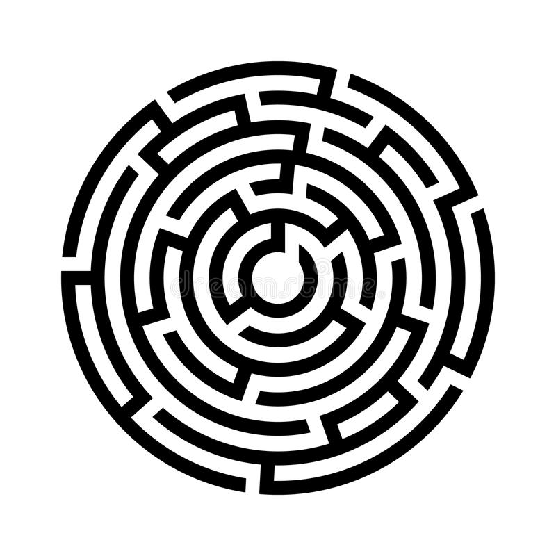 Circle maze icon. Vector illustration stock illustration
