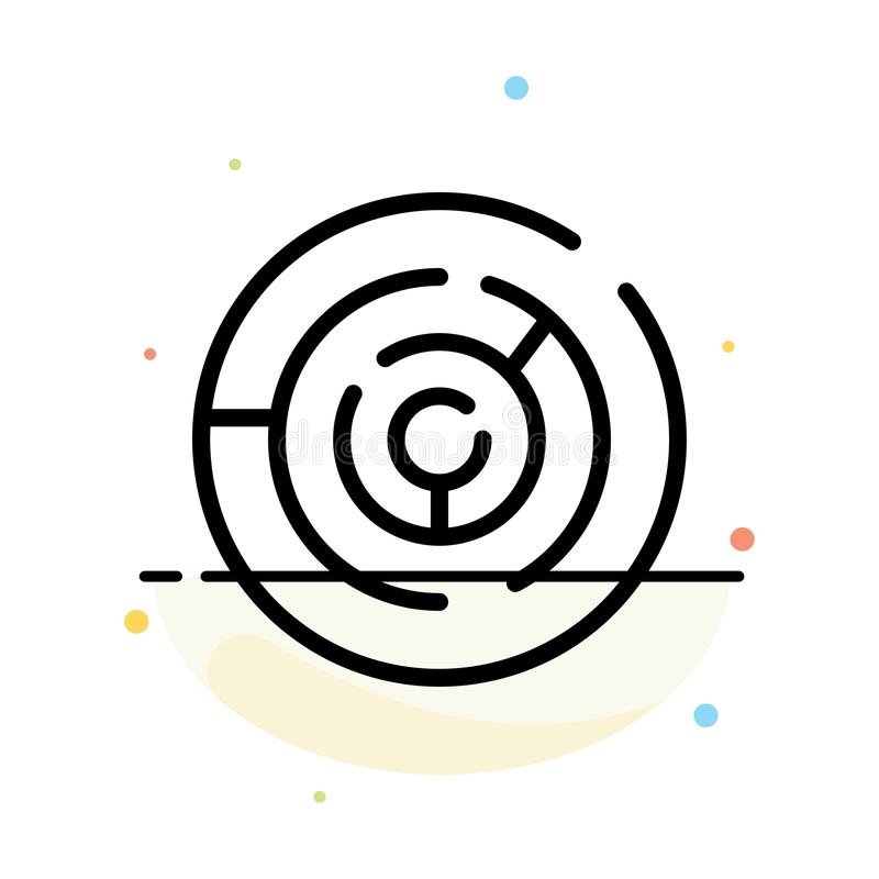Circle, Circle Maze, Labyrinth, Maze Abstract Flat Color Icon Template royalty free illustration