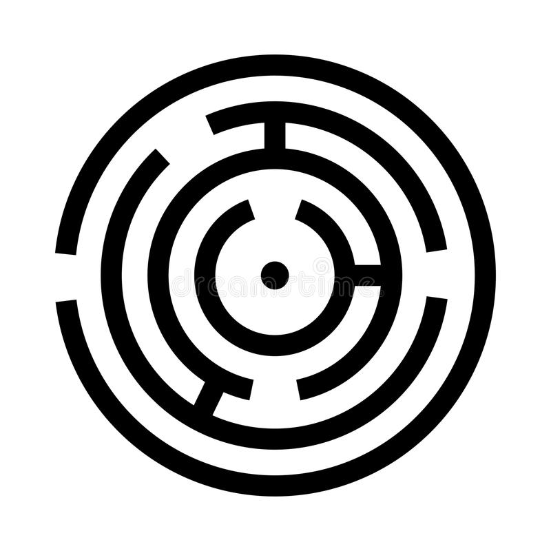 Circle maze or labyrinth black icon . Simple style royalty free illustration