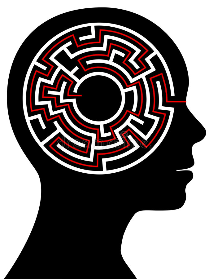 Circle Maze Puzzle as a Brain in a Person Head royalty free illustration