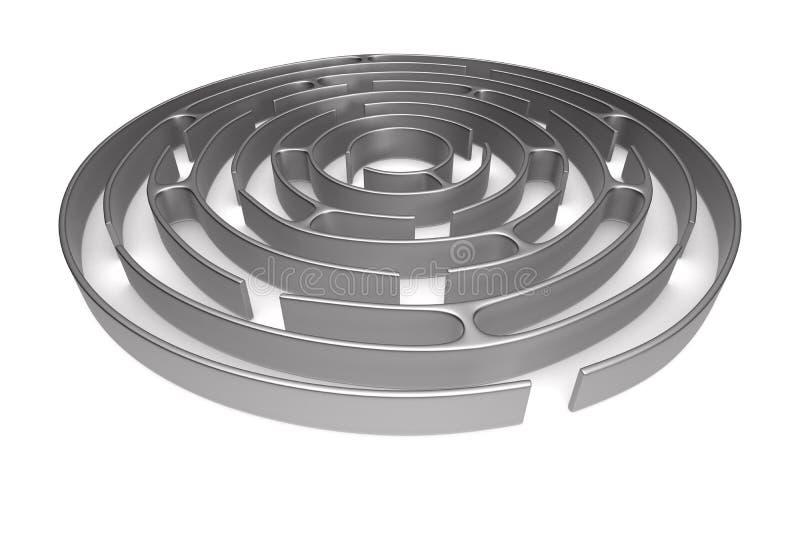 Circle maze on white background. Isolated 3D illustration royalty free illustration