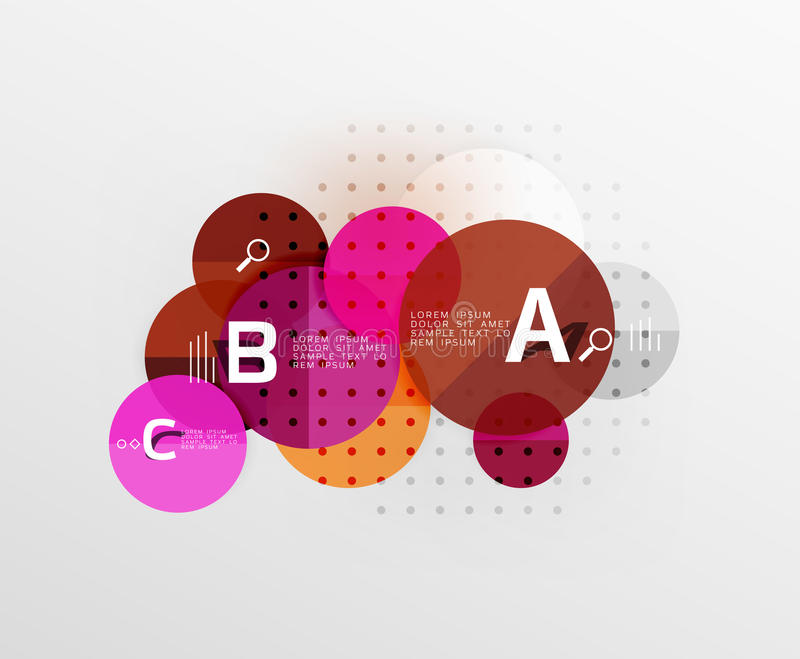 Circle modern geometry infographic background. Vector template background for workflow layout, diagram, number options or web design royalty free illustration