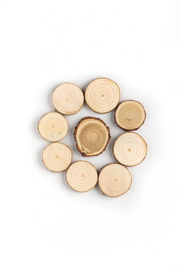 Free Circle Of Pine Tree Cross-sections With Annual Rings On White Background. Lumber Piece Close-up, Top View. Royalty Free Stock Photos - 141543778