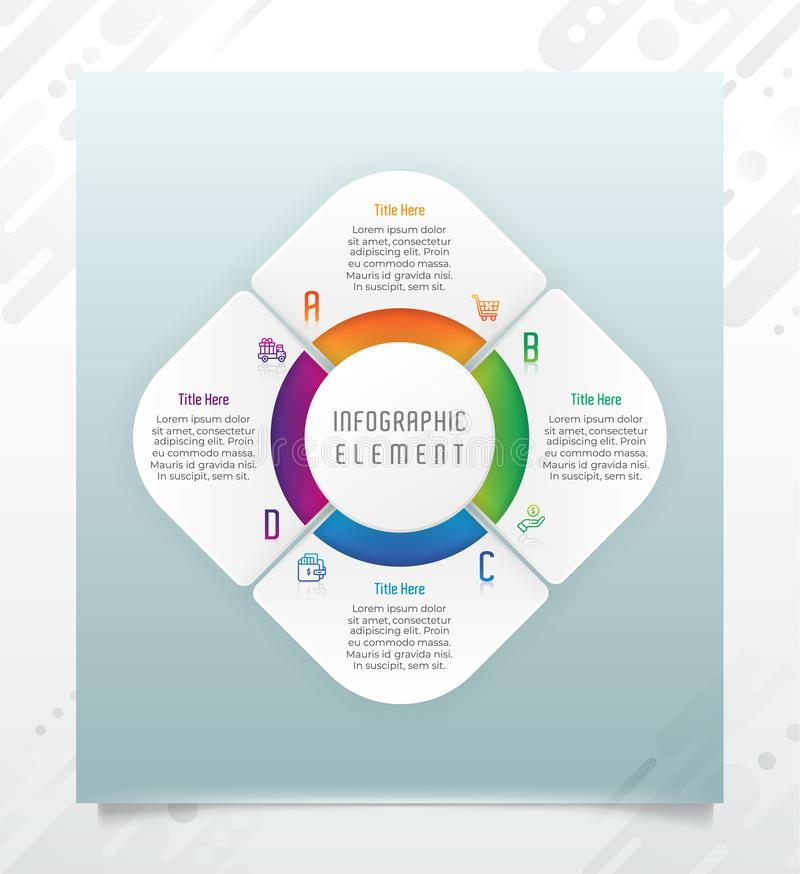 Circle option infographic vector design with 4 options &colorful style for presentation purpose.Modern option infographic can be royalty free illustration