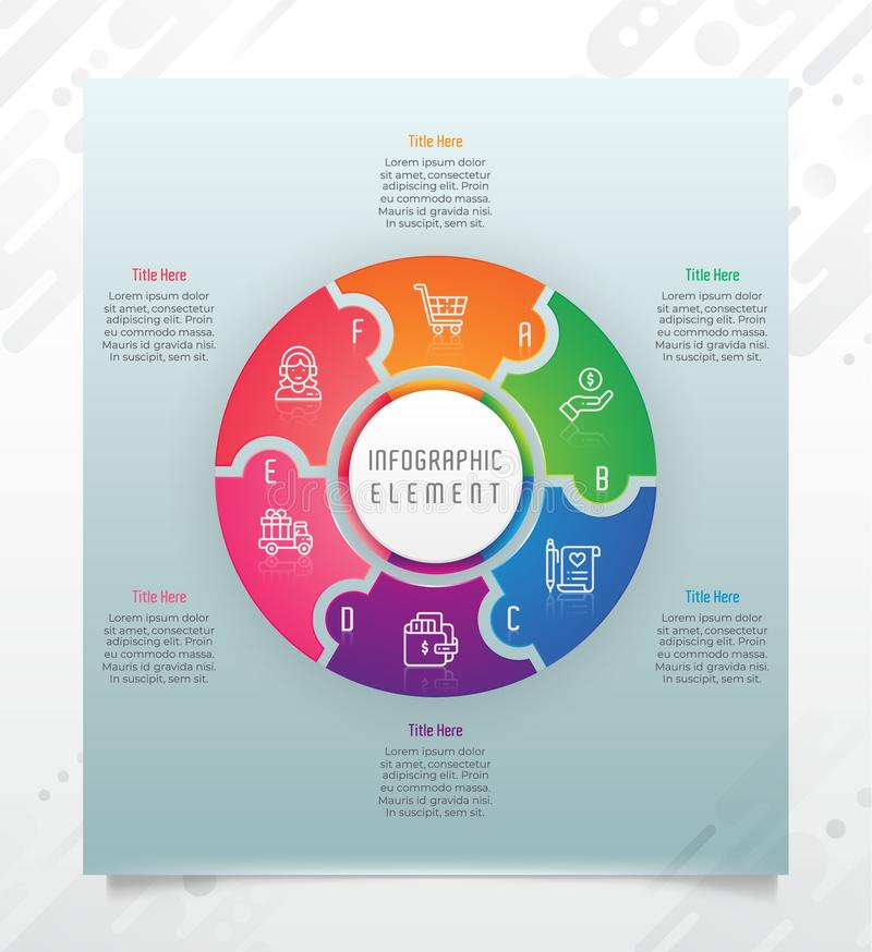 Circle option infographic vector design with 6 options &colorful style for presentation purpose.Modern option infographic can be royalty free illustration