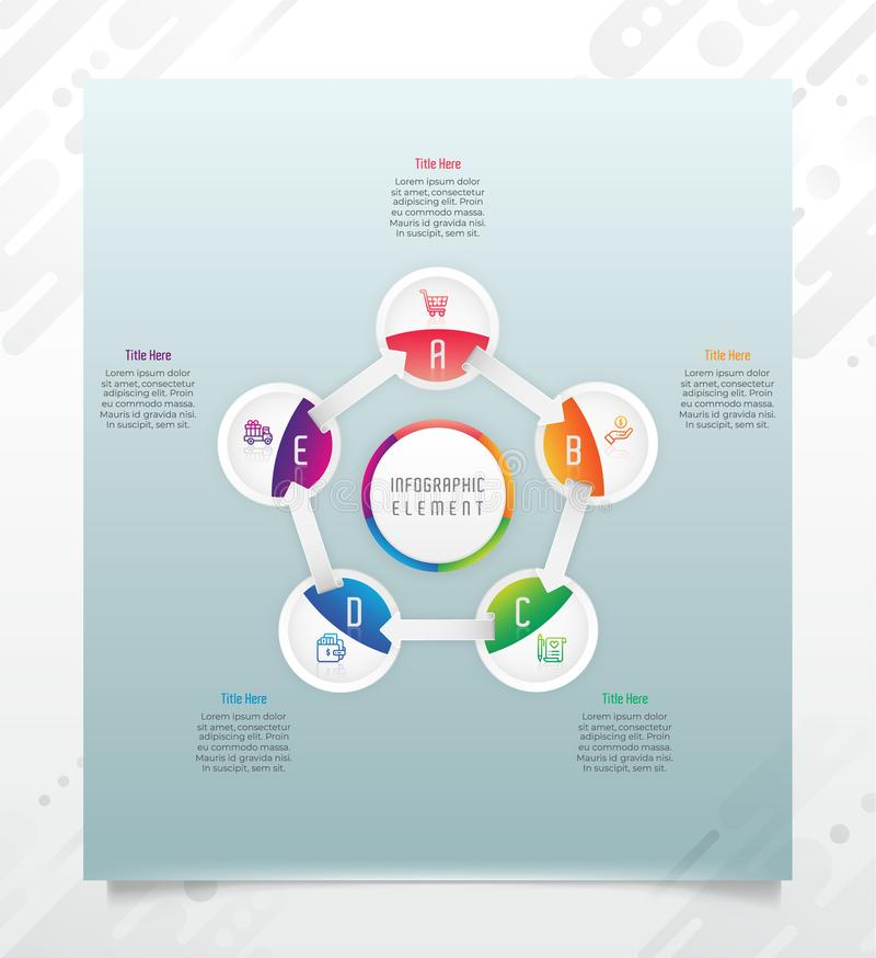 Circle option infographic vector design with 5 options &colorful style for presentation purpose.Modern option infographic can be vector illustration
